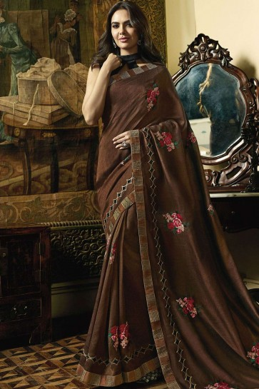 Brown Silk Bollywood Saree