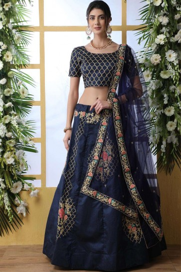 Navy blue Art silk Lehenga Choli