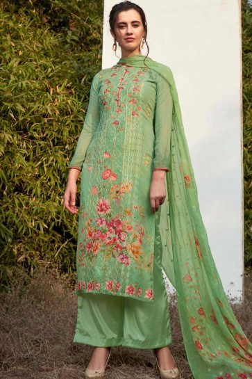 Green Georgette Palazzo Suits