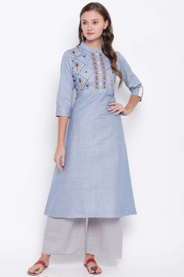 Steel blue Cotton Kurti