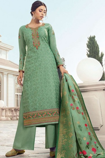 Green Satin and silk Palazzo Suits