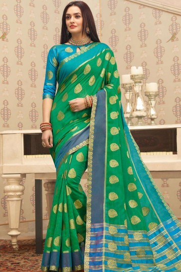Sea green Cotton saree