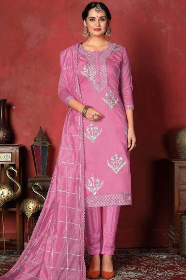 Pink Cotton Straight Pant Suit