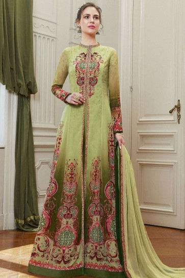 Light green Georgette Anarkali Suits