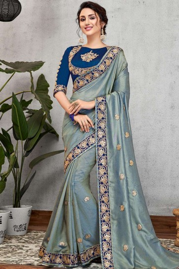 Steel blue Art silk  saree