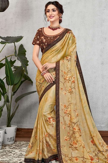 Light yellow Georgette and silk  saree
