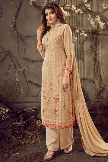 Light beige Georgette Palazzo Suits