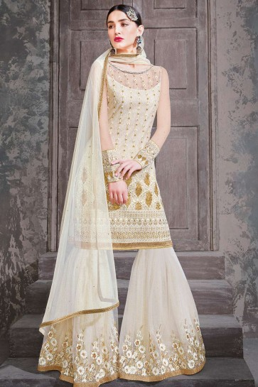 Off white Net Sharara Suits