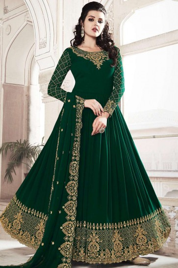 Dark green Georgette Anarkali Suits