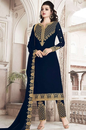 Navy blue Georgette Palazzo Suits
