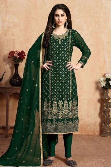 Dark green Georgette Straight Pant Suit