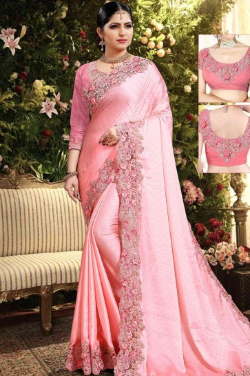 Pink Georgette and satin saree