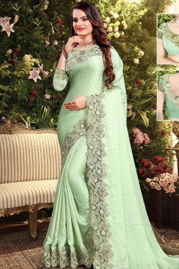 Pastel green Georgette and satin  saree