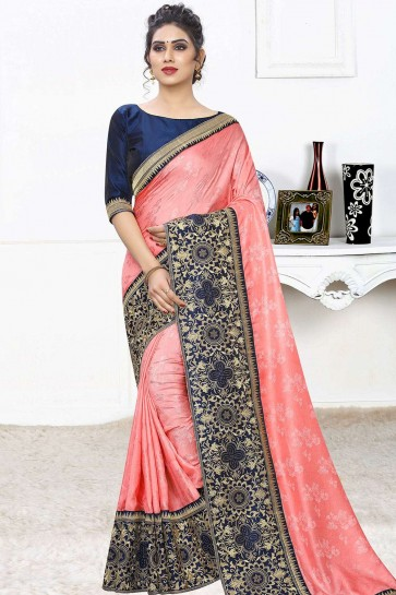 Peach Jacquard and silk saree