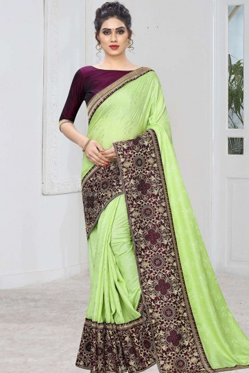 Mint green Jacquard and silk  saree