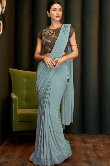 Steel blue Lycra  saree