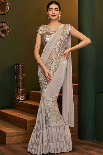 Pale grey Lycra  saree