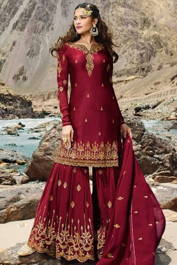Red Georgette Sharara Suit