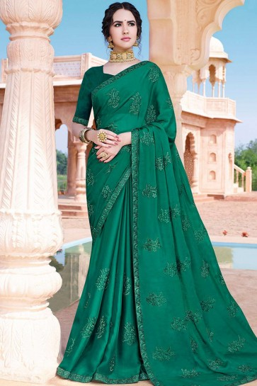 Sea green Chiffon saree