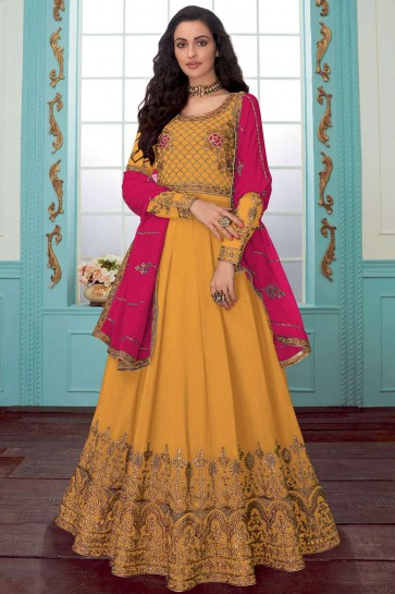 Yellow Georgette Anarkali Suit