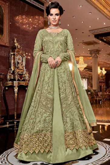 Light green Net Anarkali Suit