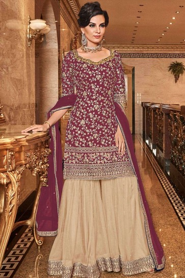 Wine  Net Sharara Suit