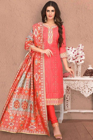 Orange Chanderi and silk Churidar Suit
