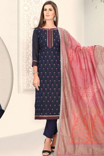 Navy blue Chanderi and silk Straight Pant Suit