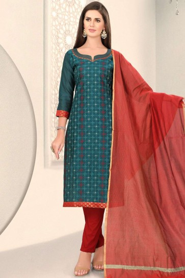 Teal blue Chanderi and silk Straight Pant Suit