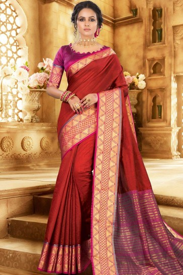 Red Khadi and silk saree
