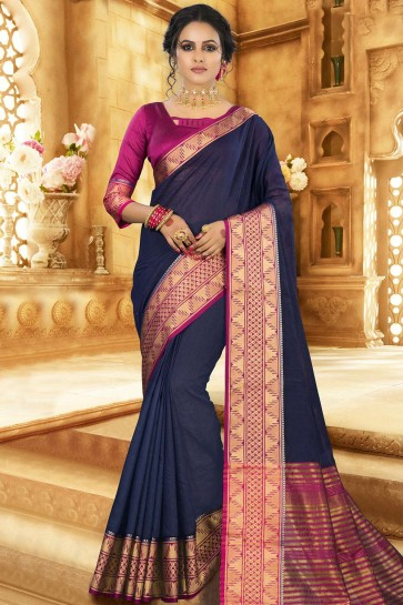 Navy blue Khadi and silk  saree