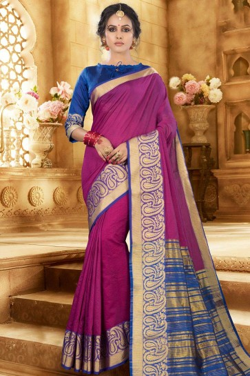 Pink,magenta Khadi and silk saree