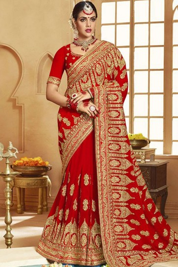 Red Georgette Bridal saree