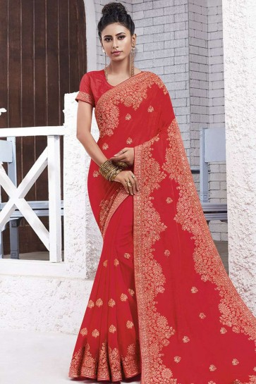 Crimson red Chiffon  saree