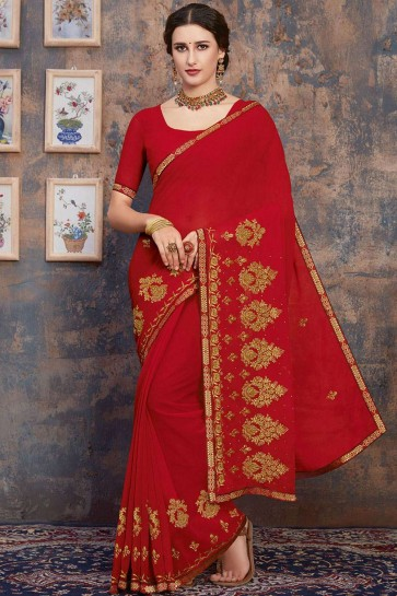 Red Embroidered Saree in Georgette