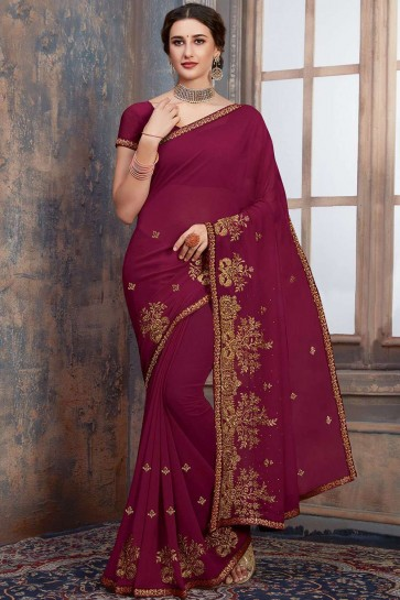 Embroidered Saree in Magenta Pink Georgette
