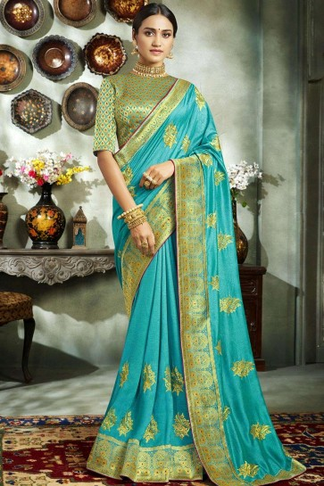 Sky blue Art silk  saree