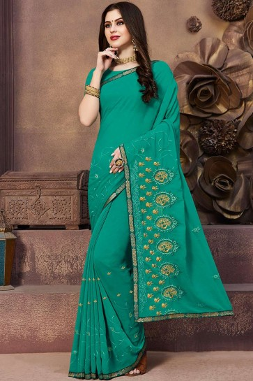 Sea Green Georgette Embroidered Saree with Blouse