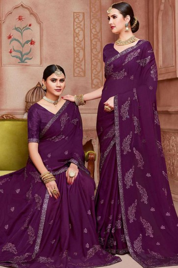 Purple Chiffon  saree