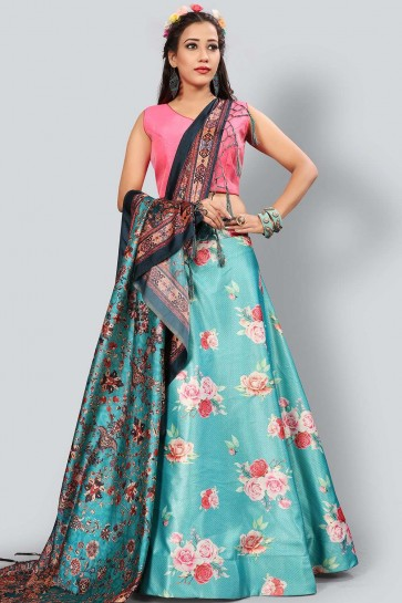 Blue Satin and silk Lehenga Choli