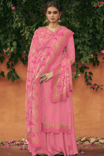 Pink Silk Sharara Suit
