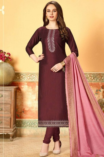 Wine Art silk Churidar Suit