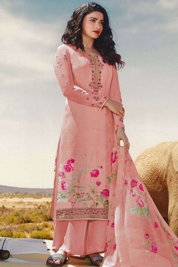 Baby pink Crepe Palazzo Suit