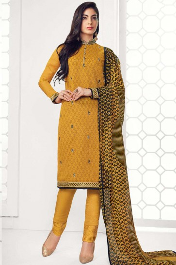 Mustard yellow Georgette Straight Pant Suit