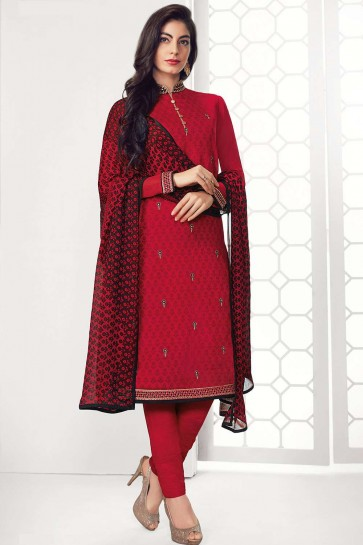 Red Georgette Straight Pant Suit