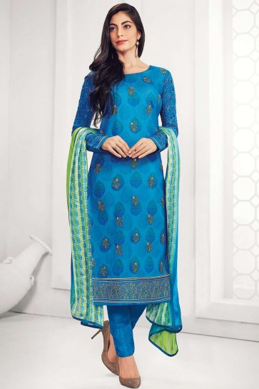Blue Georgette Straight Pant Suit
