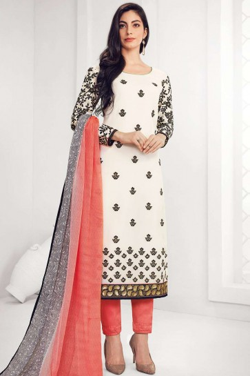 White Georgette Straight Pant Suit