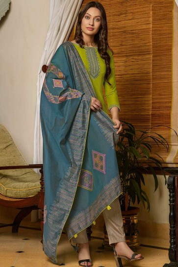 Parrot green Cotton Palazzo Suit