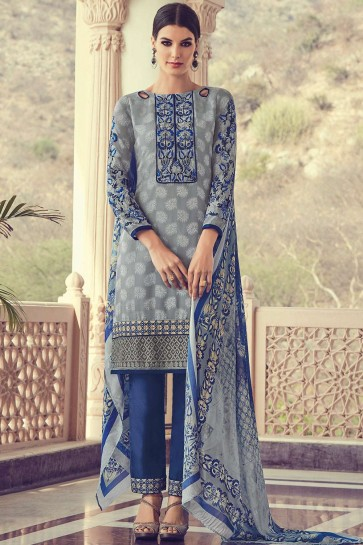 Grey Georgette and jacquard Straight Pant Suit