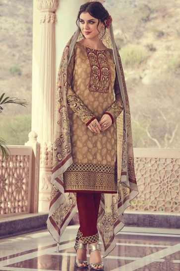 Brown Georgette and jacquard Straight Pant Suit